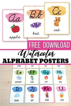 FREE Alphabet Posters - Print & Cursive - Watercolor Classroom Decor check this free classroom decor printable posters for back to school. Your students will love these fun and colorful posters. Looking for class set up ideas? These free watercolor alphabet posters are the perfect addition to your organized preschool (pre k) kindergarten or 1st grade (first grade) classroom ideas. #freeclassroomdecor #watercolorclassroomdecor #classroomorgaization