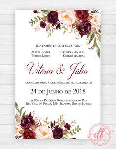 Convite Casamento Floral Marsala Wedding Invitation Card Design, Blush Wedding Invitations, Wedding Card Design, Wedding Cards, Garden Party Wedding, Diy Wedding, Graduation Wallpaper, Christening Invitations Girl, Invitation Background