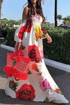 VONDA Bohemian Summer Dress 2019 Beach Women Sexy Off The Shoulder Floral Print Maxi Long Dresses Holiday Plus Size Vestidos Bohemian Summer Dresses, Floral Prom Dresses, Floral Maxi Dress, Casual Dresses, Backless Maxi Dresses, Strapless Maxi, Maxi Skirts, Long Dresses, Cheap Dresses