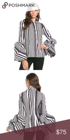 Bishop- Sleeve Striped Blouse BOUTIQUE - NEW ARRIVAL by TOV.      Black/White striped romantic long sleeve top with ruffle starting at the elbow and ending at mid-hand.  100% cotton  Sizes: Small (6/8) Medium (8/10) Large (10/12) TOV Tops Button Down Shirts
