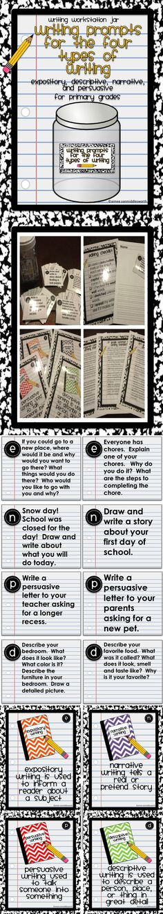 This is a collection of Common Core writing prompts that fit the four types of writing- expository, descriptive, narrative and persuasive. There are 48 prompts in all, 12 of each type. Also included in the download is a writing paper template, an editing checklist, Common Core writing standards for kindergarten, first and second grades, and anchor charts for the four types of writing.
