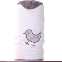 toallas con capucha para niños blanca con PIO PIO bordado en gris