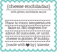 Freezer Meal Labels   simplykierste.com  Free printables. Great for bringing meals to people.
