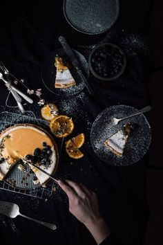 Classic Cheesecake with Hazelnut, Citrus Topping - Christiann Koepke Dark Food Photography, Cake Photography, Delicious Cake Recipes, Yummy Cakes, Classic Cheesecake, Dinners For Kids, Pretty Cakes, Cheesecake Recipes, Food Pictures