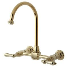 USA: Kingston Brass KS1292AL Heritage Double Handle 8-Inch Center Wall Mounted Gooseneck Kitchen Faucet, Polished Brass