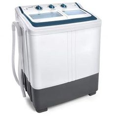 Ivation Small Compact Portable Washing Machine – Twin Tub Washer Spin with Lb. Spin Capacity – Includes Drainage Pump Tube – Ideal for Dorm Rooms, RV More – Appliance Center