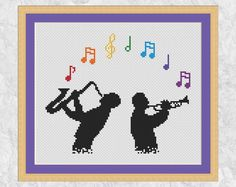 Jazz music cross stitch pattern printable musician silhouette