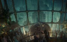 This is a concept art of the game Bioshock. I found this here:http://bioshock.wikia.com/wiki/Category:BioShock_Concept_Art  This is a professionally made concept art, it gives me a goal to achieve in regards to my mastery of digital painted concept art for games.