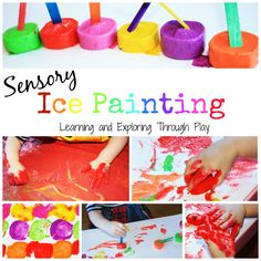 Sensory Ice Painting. Fun for kids. Painting activities for kids. Sensory activities for kids. Learning and Exploring Through Play.