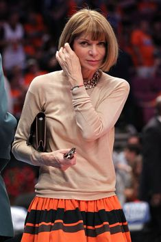 Anna Wintour Photos - Editor-in-chief of American Vogue Anna Wintour watches the New York Knicks play against the Boston Celtics in Game Four of the Eastern Conference Quarterfinals during the 2011 NBA Playoffs on April 24, 2011 at Madison Square Garden in New York City. NOTE TO USER: User expressly acknowledges and agrees that, by downloading and or using this photograph, User is consenting to the terms and conditions of the Getty Images License Agreement - Boston Celtics v New York Knicks…