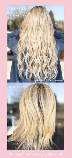 Before and After hair extensions, hair extensions, tape in hair extensions, hair transformation, blonde hair, long blonde hair, blonde extensions, honey hair extensions Blonde Extensions, Tape In Hair Extensions, Hair Extensions Before And After, Honey Hair, Hair Transformation, Remy Hair, Blonde Hair, Dreadlocks, Long Hair Styles