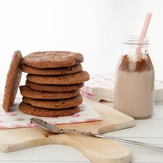 Malted Milo Cookie with Choc Chips Stack & Milk