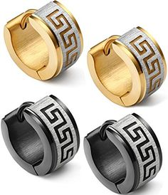 Jstyle Jewelry Stainless Steel Hoop Earrings for Men Women Huggie Earrings Unique Greek Key 2 Pairs a Set -- You can get additional details at http://www.amazon.com/gp/product/B01BWLF4II/?tag=ilikeboutique09-20&hi=160716084950