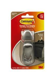 Large Command Hook -- use for curtain panel hold back, place at an angle next to window. Use two, one for sheers, one for panels.