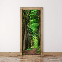Door Mural Scene in The Forest Self Adhesive Fabric Door Wrap Wall Sticker…