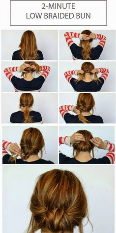 This braided bun is adorable and will make you loo...