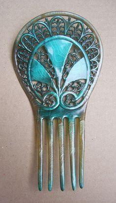 Art Deco hair comb turquoise enamel