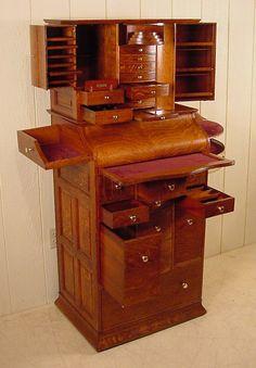 Deluxe Model Antique Oak Ransom & Randolph Dental Cabinet