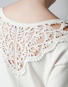 JERSEY WITH GUIPURE LACE BACK - T-shirts - TRF - ZARA Serbia