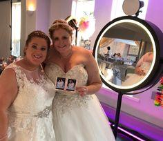2 Happy Brides loving our Selfie Mirror! Wedding Fun!!