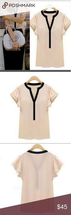 ? Elegant Pink Chiffon Ruffle Top ? ?COMING SOON?  Ruffle Short Sleeve Chiffon Shirt with black trim. Size Large Brand new in package. Tops Blouses
