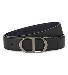 180f8dd2737 DIOR HOMME Reversible CD logo leather buckle belt (Blk nvy ruthenium