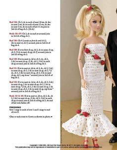 Album sous forme d'archive - Šaty a nábytek, Crochet Doll Dress, Crochet Barbie Clothes, Doll Clothes Barbie, Crochet Doll Pattern, Barbie Doll, Barbie Knitting Patterns, Barbie Patterns, Doll Clothes Patterns, Dress Patterns