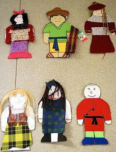 Paper Dolls from Around the World- fun project for International Week, or just to welcome students. Students make the dolls based on traditional clothes worn in their families' native countries.