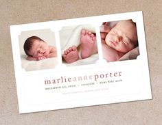 Modern Three  Photo Birth Announcement  Baby Girl by oodlesofcolor