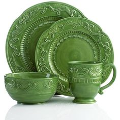 Fitz and Floyd Dinnerware Ricamo Green 4 Piece Place Setting found on Polyvore  sc 1 st  Pinterest & Fitz and Floyd Dinnerware Toulouse Blue Collection - Casual ...
