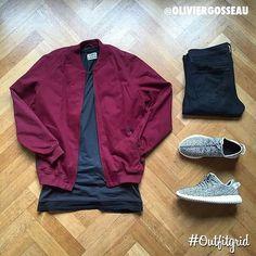Outfit grid - Burgundy Harrington