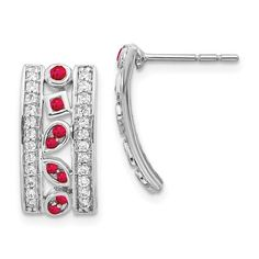 14k White Gold Diamond and Ruby Fancy Earrings / STYLE: EM3853-RU-030-WA #DiamondandRubyEarrings #RubyFancyEarrings #14k #WhiteGold #DiamondJewelry #Ruby #Earrings Emerald Pendant, Emerald Jewelry, Diamond Jewelry, Fancy Earrings, Gemstone Earrings, Diamond Earrings, Ruby Earrings, Birthstone Jewelry, Gold Material