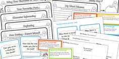 Reading Comprehension Activity Sheet Resource Pack