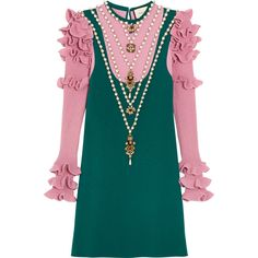 Gucci Embellished wool-blend mini dress ($3,425) ❤ liked on Polyvore featuring dresses, gucci, teal, short dresses, teal dress, teal blue dresses, flutter-sleeve dress and embellished dress