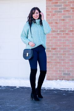 oversized turtleneck sweater and black over-the-knee boots winter outfit