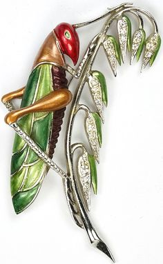 MB Boucher Metallic Enamel Grasshopper Pin