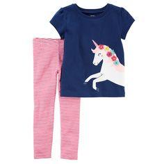 Baby Girl Carter s Unicorn Tee   Striped Leggings Set. Unicorn  GraphicCarters Baby GirlToddler GirlsBaby GirlsT Shirts ... 969785710ba9