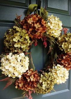 Fall Hydrangea & Berry Fall Wreath  Fall door HomeHearthGarden, $98.00