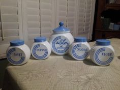 Mint Vintage Fire King Vitrock Blue Circle Range Set