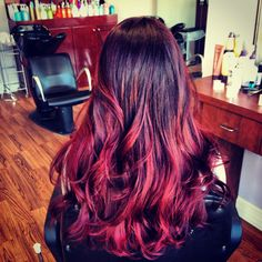Violet to red violet ombré hair color by Molly Romano at Seasons Salon and Spa