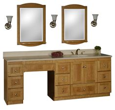 bathroom vanity with makeup vanity attached | choice of sink and makeup area location 84 bathroom makeup