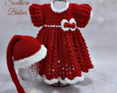 Baby Girl's Red & White Christmas Dress with Matching Santa Hat - Newborn to 18 months - Newborn ready to ship.