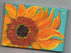 Sunflower on Turquoise Original mini canvas painting with Easel