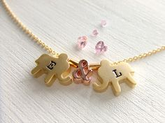 Elephants Jewelry Necklace, Two Love Elephants - Gold Filled Jewelry / Rose Gold…