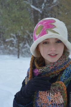 Купить Шапка-Шляпка - белый, шляпка, шляпка женская, шляпка для девочки, шляпка белая