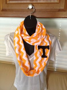 University of Tennessee Volunteers Orange and White chevron infinity scarf by LilCsBoutique