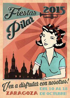 Exposición Carteles Pilar 2015. Titulo: MENÚ PRINCIPAL, FIESTAS DEL PILAR. Autora: Débora Baselga López