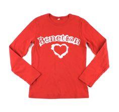 Benetton t-shirt, red Benetton shirt, long sleeved t-shirt
