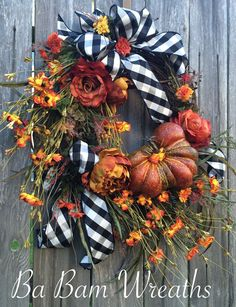 Fall Wreath, Autumn Wreath, Fall Floral, Fall Door, Autumn Floral, Autumn Decor, Fall Decor  Let your door have the WOW factor! Your door would be stunning & fun all in one with this lovely rustic combination of elegant checkered black & white designer ribbon, gorgeous Fall florals, orange, sprays of berries & greenery and a beautiful pumpkin~ this wreath has it all! I hope you enjoy all the fine details- I pride myself in creating one of a kind wreaths- and this one is worthy of a double…