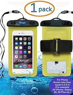 Deego Universal Waterproof Armband Snowproof Case Dry Bag, Fit Iphone 5 5s 6s 6 Plus Galaxy S6 Edge Note 4 LG V10 Nexus 6p Ipod Touch Moto 5.5-inch Diagonal Ipx6 Certified to 6.6 Feet (Yellow)